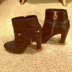 Tory Burch black leather and gold detail bootie